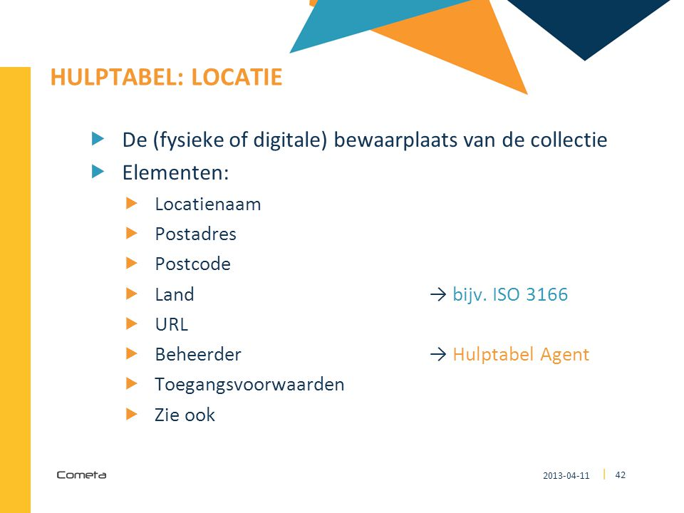 4242 HULPTABEL: locatie. De (fysieke of digitale) bewaarplaats van de collectie. Elementen: Locatienaam.