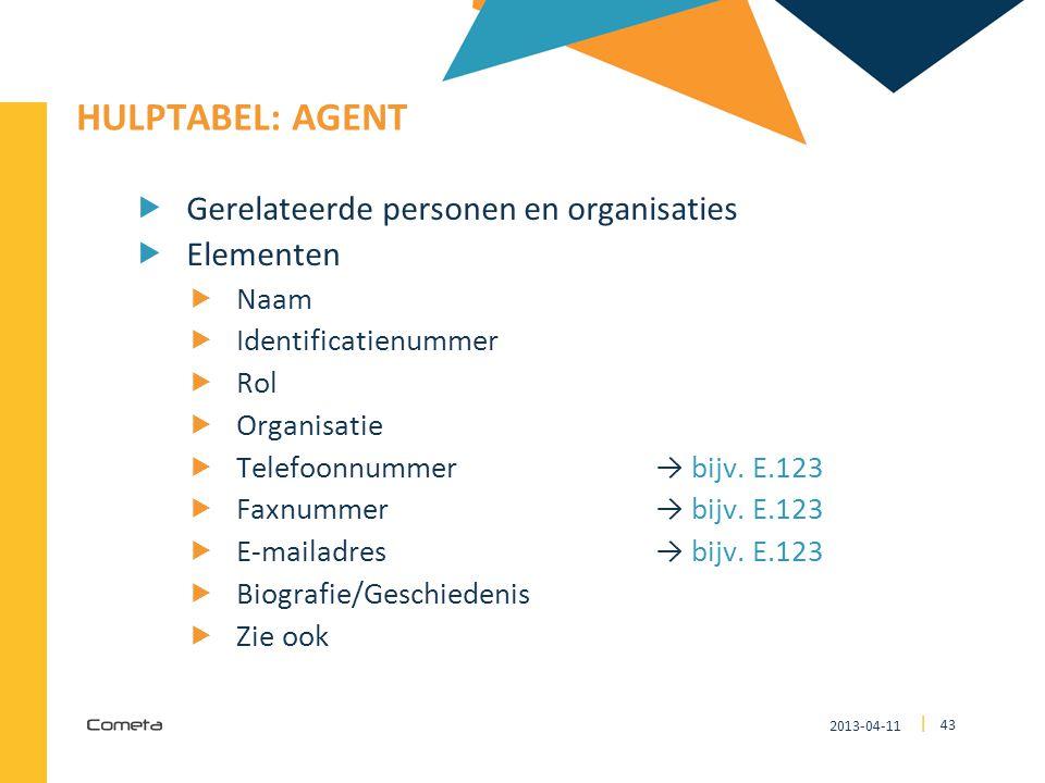 HULPTABEL: Agent Gerelateerde personen en organisaties Elementen Naam