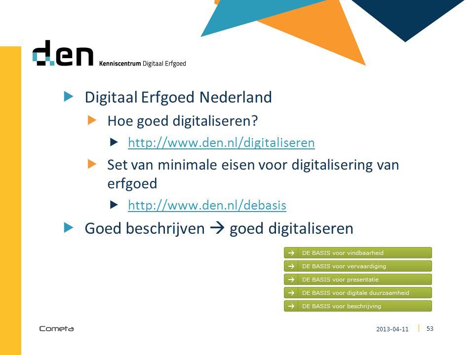 DEN Digitaal Erfgoed Nederland Goed beschrijven  goed digitaliseren