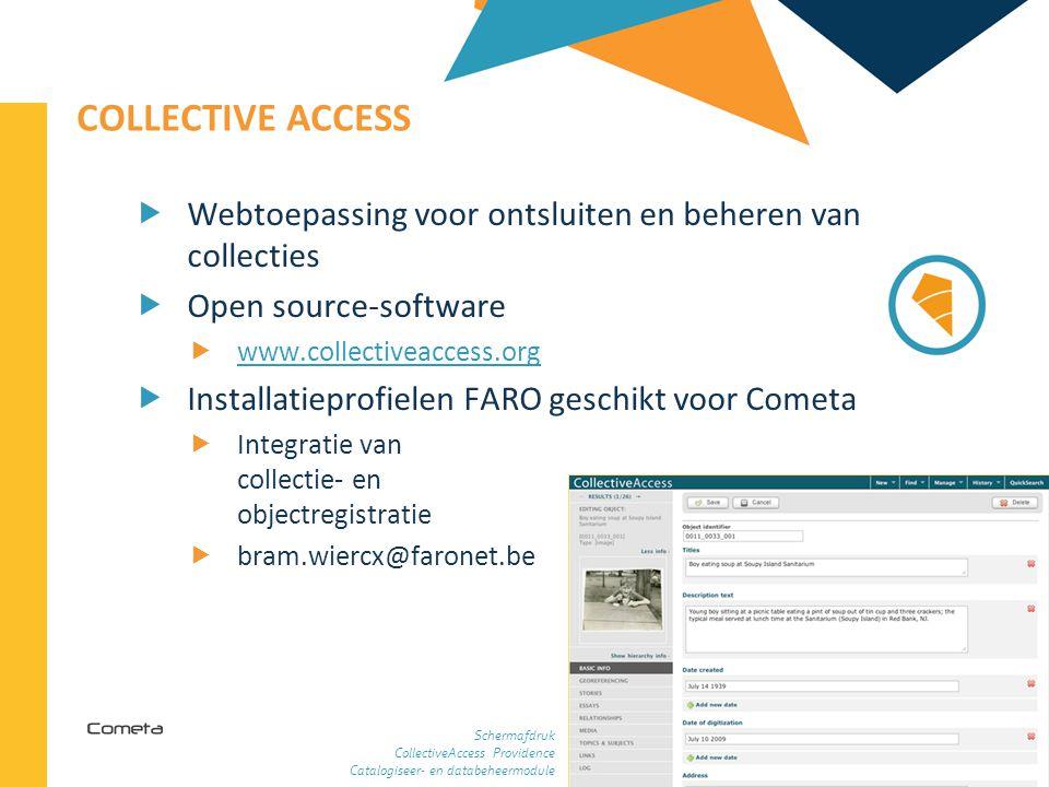 Collective Access Webtoepassing voor ontsluiten en beheren van collecties. Open source-software. www.collectiveaccess.org.