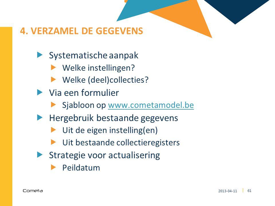 4. Verzamel de gegevens Systematische aanpak Via een formulier