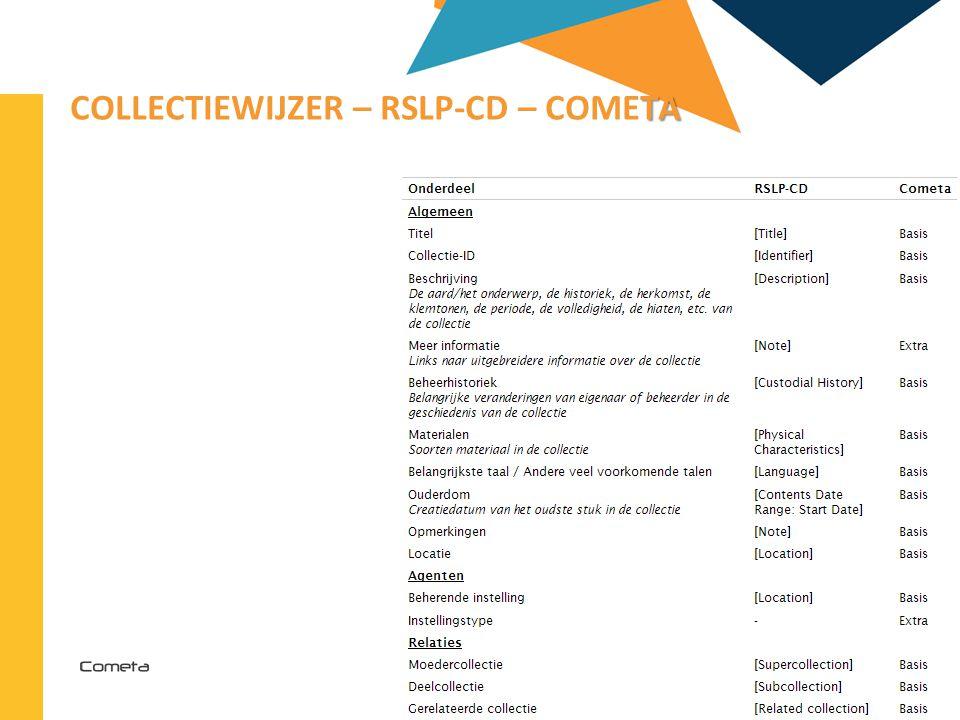 Collectiewijzer – RSLP-CD – Cometa