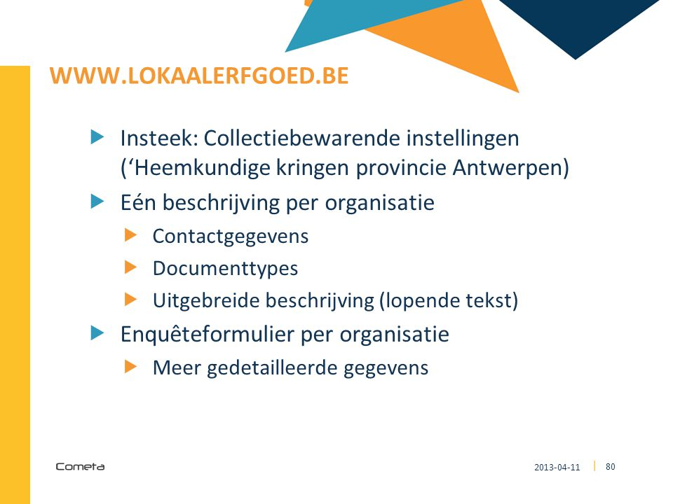 www.lokaalerfgoed.be Insteek: Collectiebewarende instellingen ('Heemkundige kringen provincie Antwerpen)