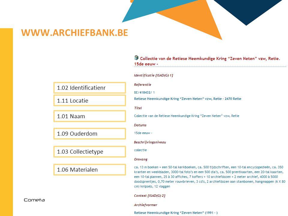 www.archiefbank.be 1.02 Identificatienr 1.11 Locatie 1.01 Naam