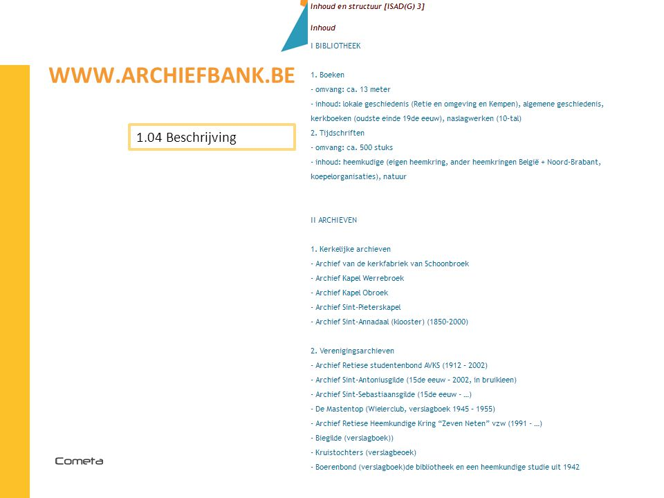www.archiefbank.be 1.04 Beschrijving