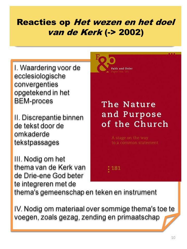 Reacties op Het wezen en het doel van de Kerk (-> 2002)