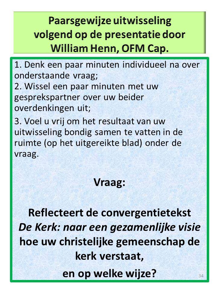 Paarsgewijze uitwisseling volgend op de presentatie door William Henn, OFM Cap.