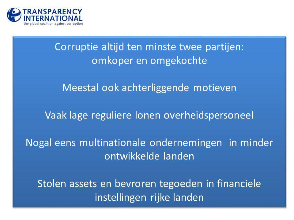 Corruptie altijd ten minste twee partijen: omkoper en omgekochte
