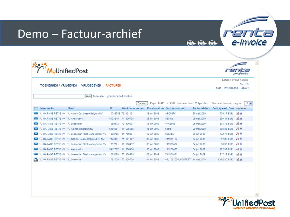 Demo – Factuur-archief