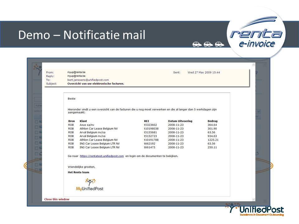 Demo – Notificatie mail