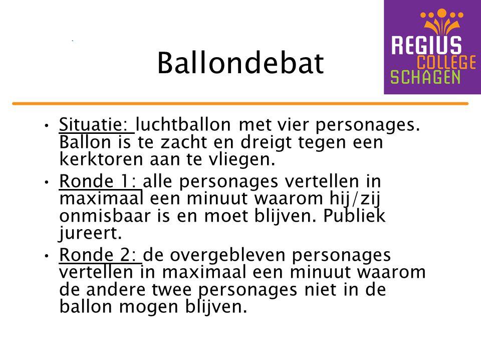 Ballondebat Situatie: luchtballon met vier personages. Ballon is te zacht en dreigt tegen een kerktoren aan te vliegen.