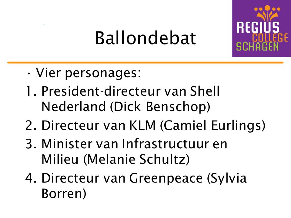 Ballondebat Vier personages: