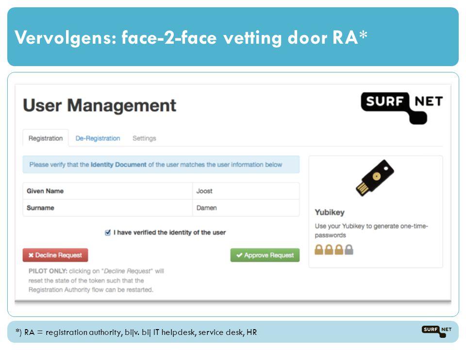 Vervolgens: face-2-face vetting door RA*
