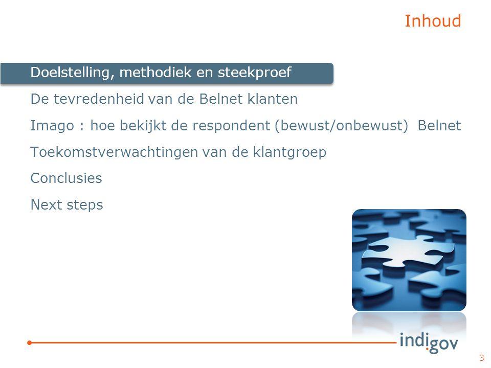 Inhoud Doelstelling, methodiek en steekproef
