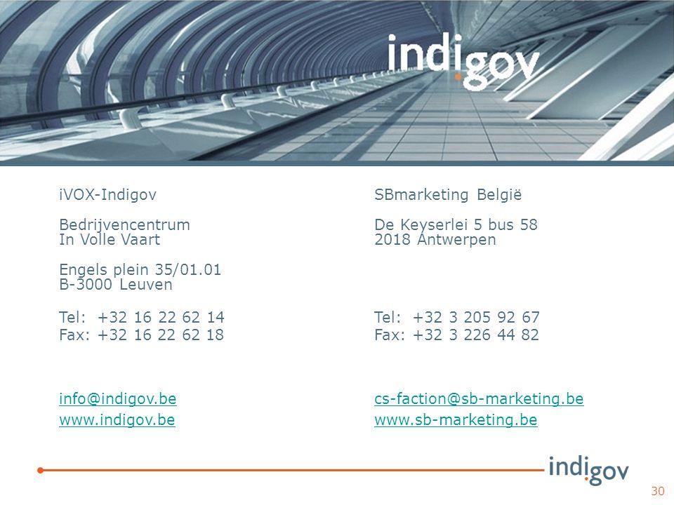 iVOX-Indigov Bedrijvencentrum. In Volle Vaart. Engels plein 35/01.01 B-3000 Leuven. Tel: +32 16 22 62 14 Fax: +32 16 22 62 18.