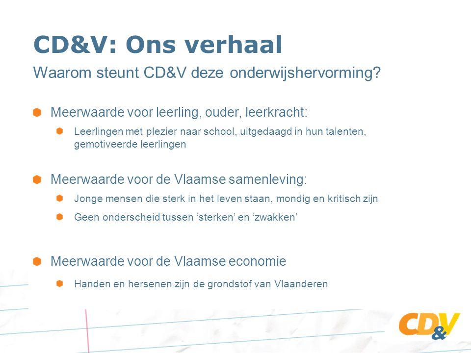 CD&V: Ons verhaal Waarom steunt CD&V deze onderwijshervorming