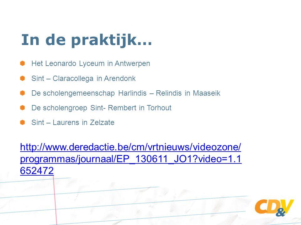 In de praktijk… Het Leonardo Lyceum in Antwerpen. Sint – Claracollega in Arendonk. De scholengemeenschap Harlindis – Relindis in Maaseik.