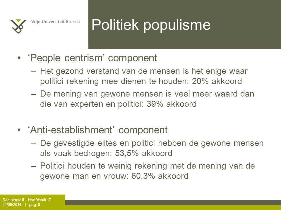 Politiek populisme 'People centrism' component