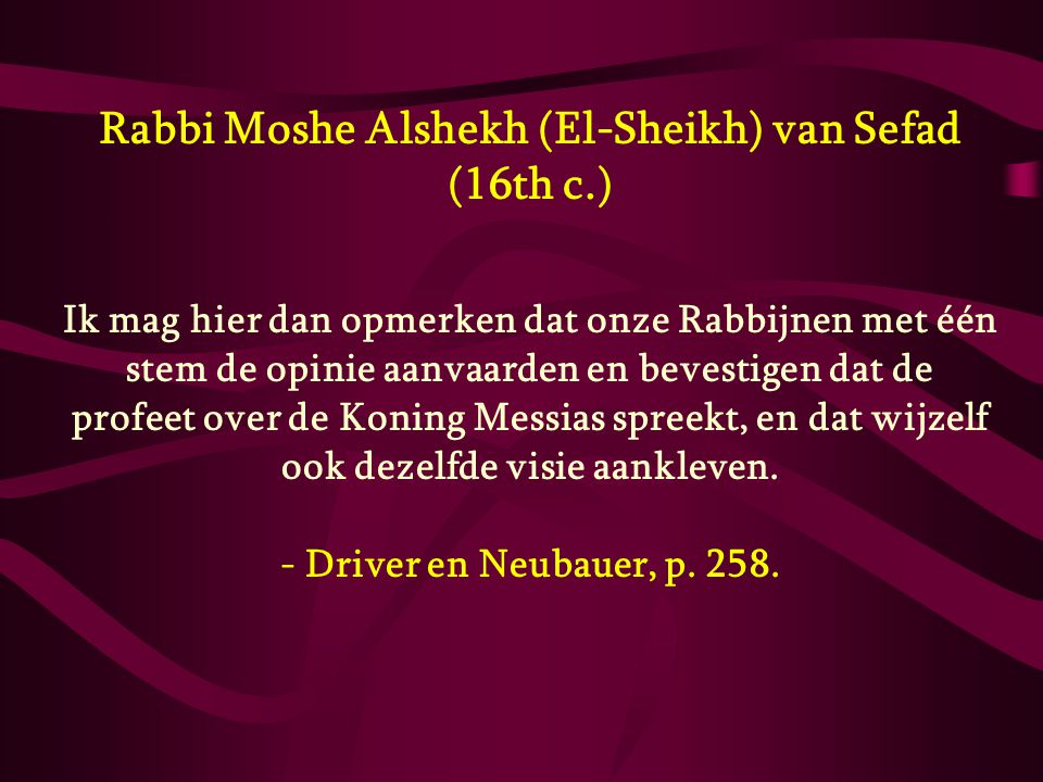Rabbi Moshe Alshekh (El-Sheikh) van Sefad (16th c.)