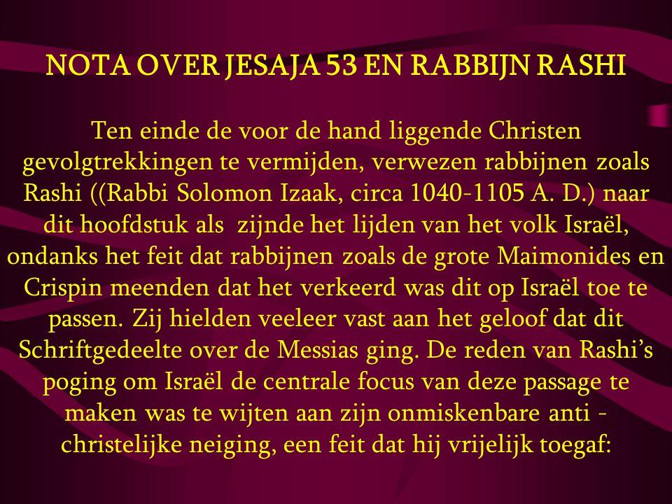 NOTA OVER JESAJA 53 EN RABBIJN RASHI