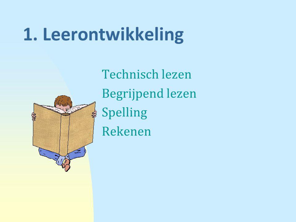 1. Leerontwikkeling Technisch lezen Begrijpend lezen Spelling Rekenen