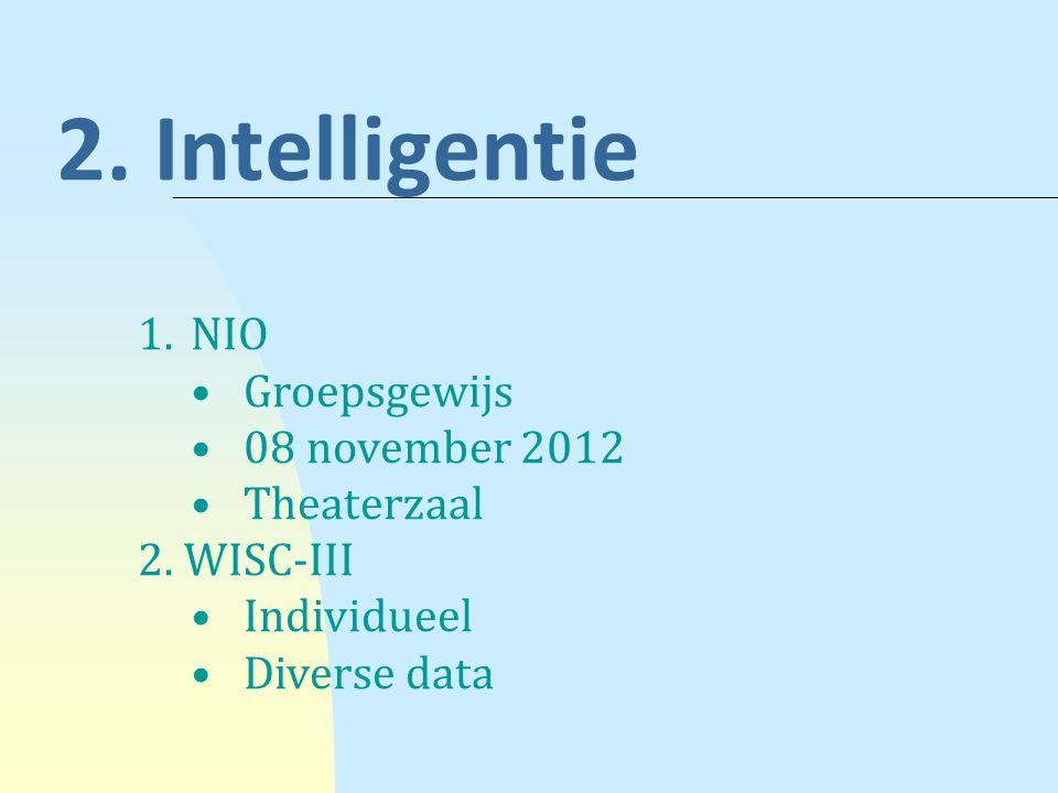 2. Intelligentie NIO Groepsgewijs 08 november 2012 Theaterzaal