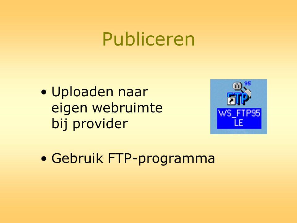 Publiceren Uploaden naar eigen webruimte bij provider