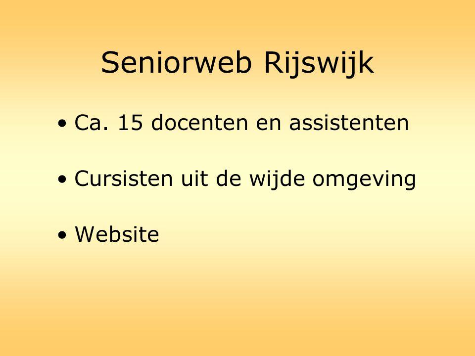 Seniorweb Rijswijk Ca. 15 docenten en assistenten