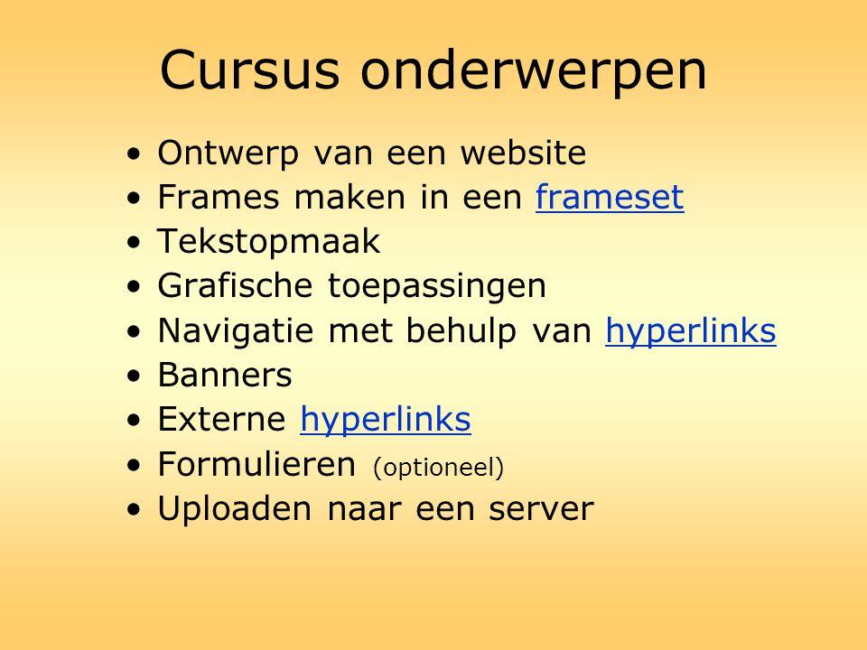 Cursus onderwerpen Ontwerp van een website