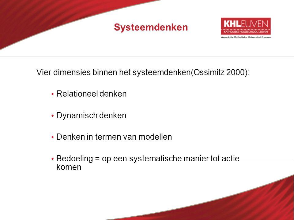 Systeemdenken Vier dimensies binnen het systeemdenken(Ossimitz 2000):