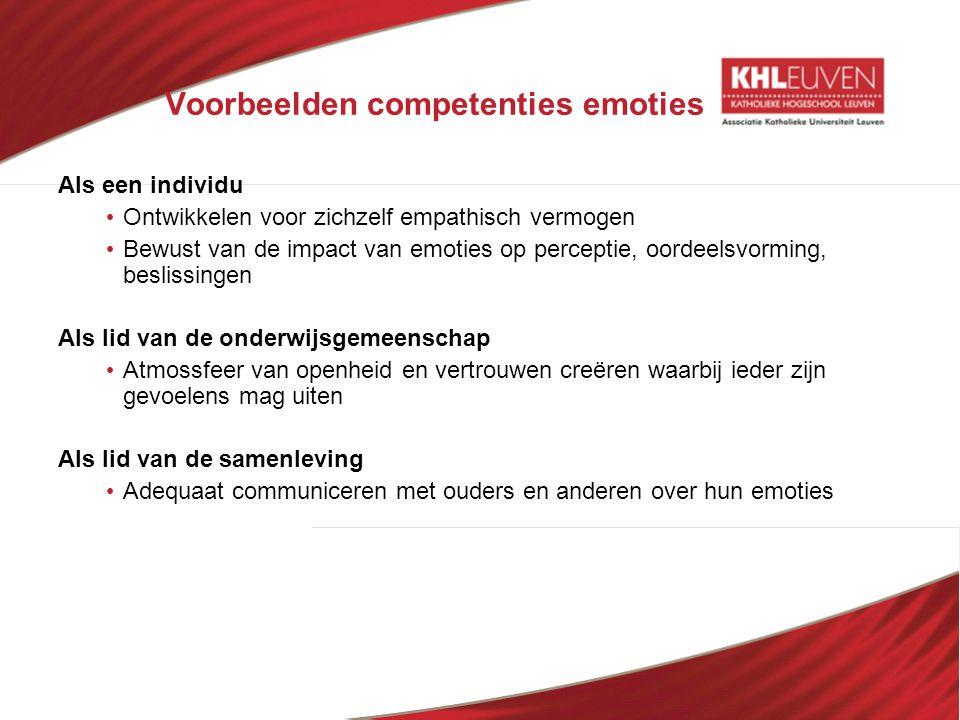 Voorbeelden competenties emoties