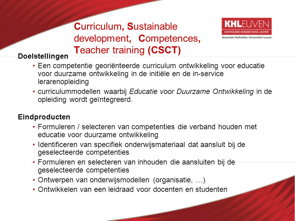 Curriculum, Sustainable development, Competences, Teacher training (CSCT)