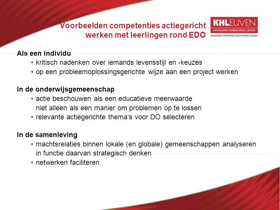 Voorbeelden competenties actiegericht werken met leerlingen rond EDO