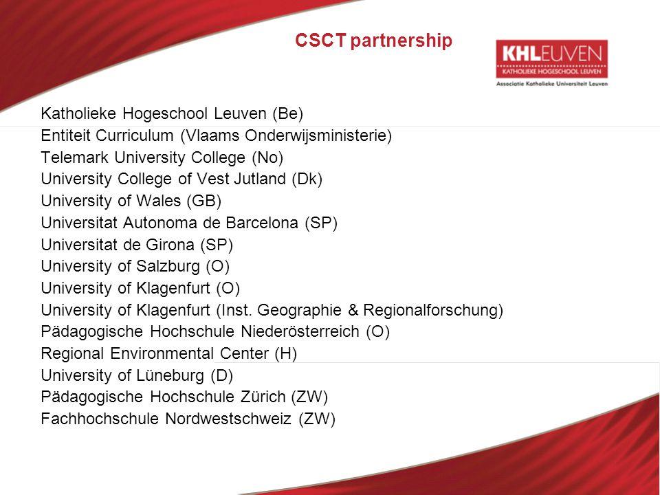 CSCT partnership Katholieke Hogeschool Leuven (Be)