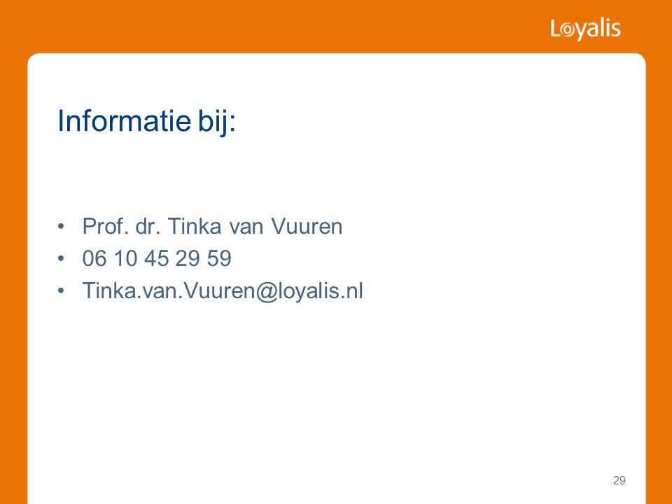 Informatie bij: Prof. dr. Tinka van Vuuren 06 10 45 29 59