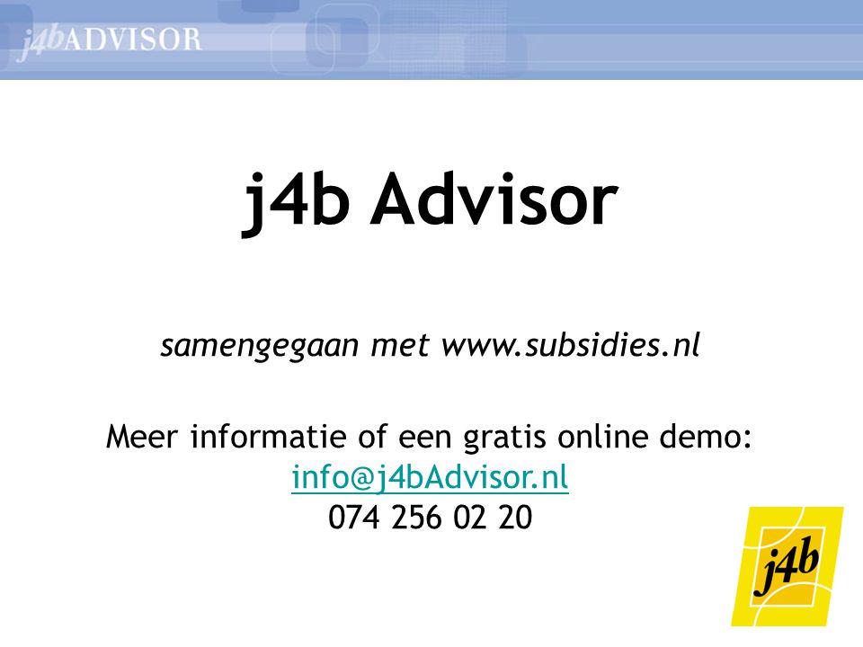 j4b Advisor samengegaan met www.subsidies.nl