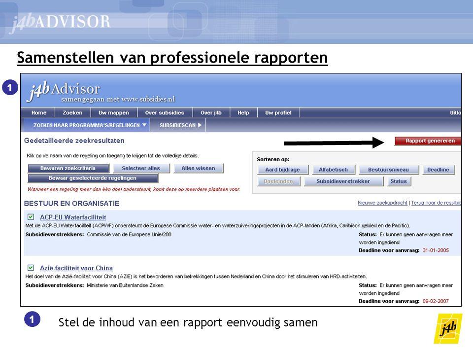 Samenstellen van professionele rapporten