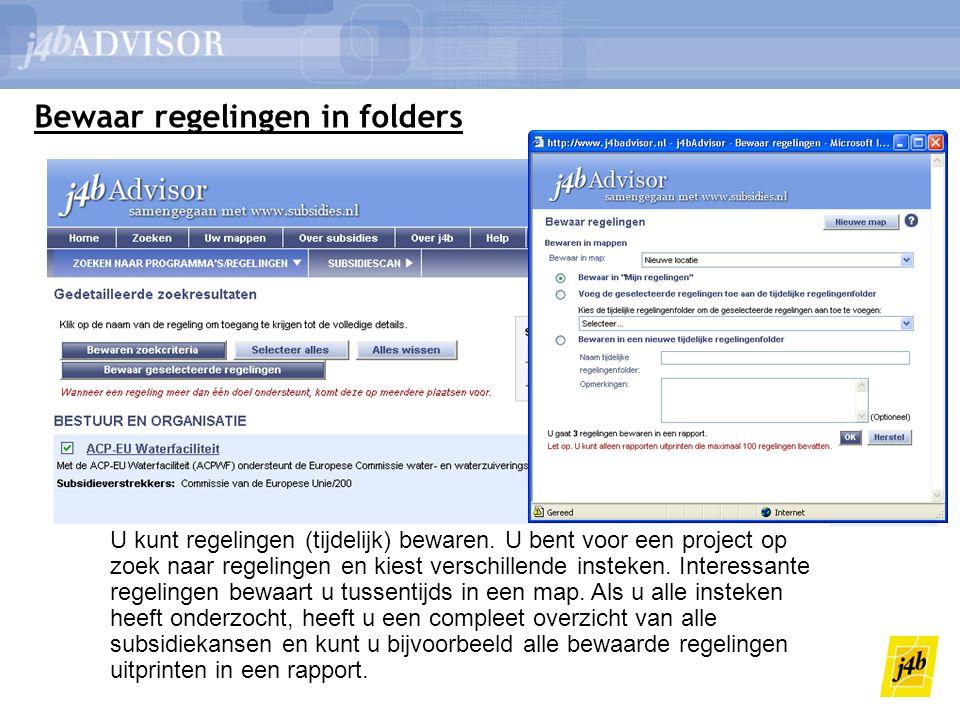 Bewaar regelingen in folders