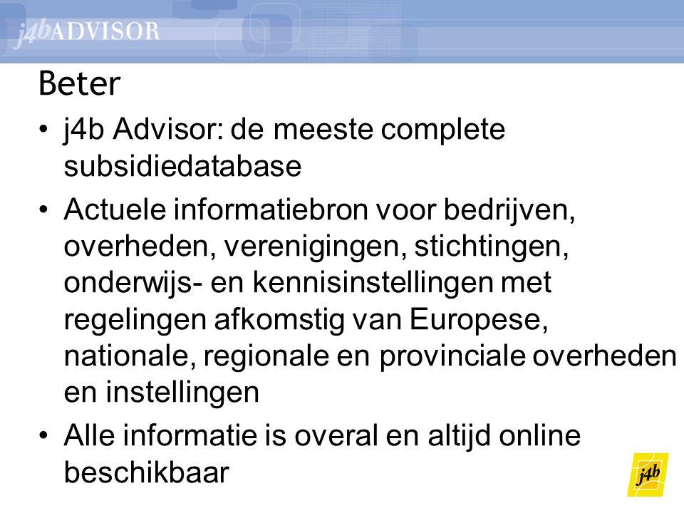 Beter j4b Advisor: de meeste complete subsidiedatabase