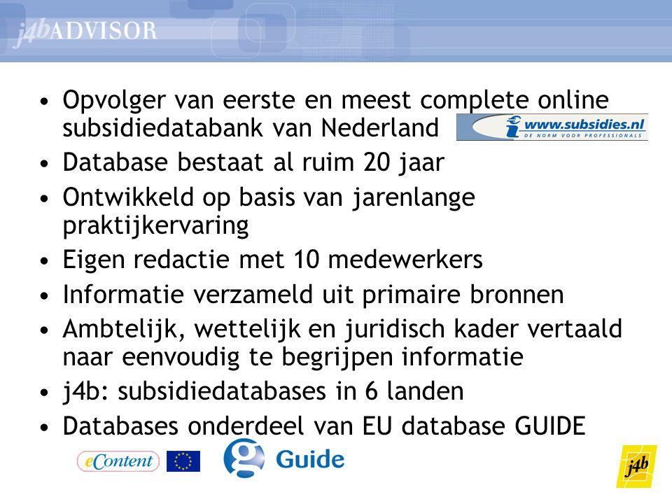 Opvolger van eerste en meest complete online subsidiedatabank van Nederland
