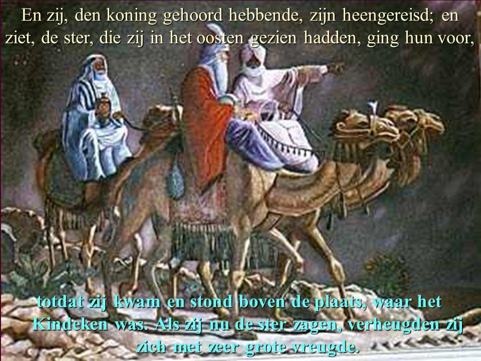 En zij, den koning gehoord hebbende, zijn heengereisd; en ziet, de ster, die zij in het oosten gezien hadden, ging hun voor,
