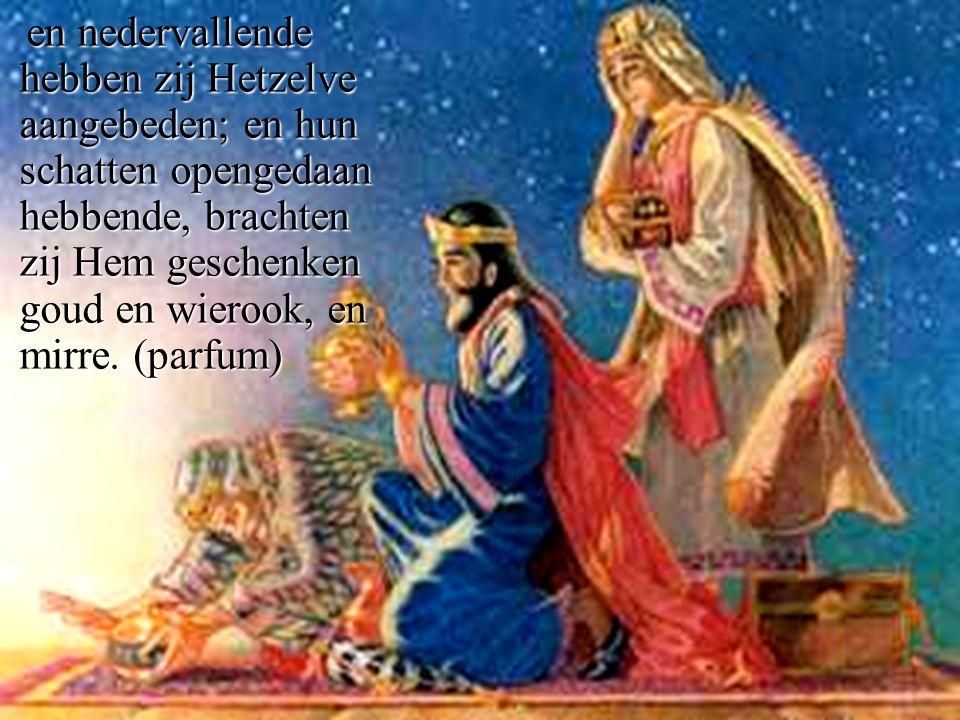 en nedervallende hebben zij Hetzelve aangebeden; en hun schatten opengedaan hebbende, brachten zij Hem geschenken goud en wierook, en mirre.
