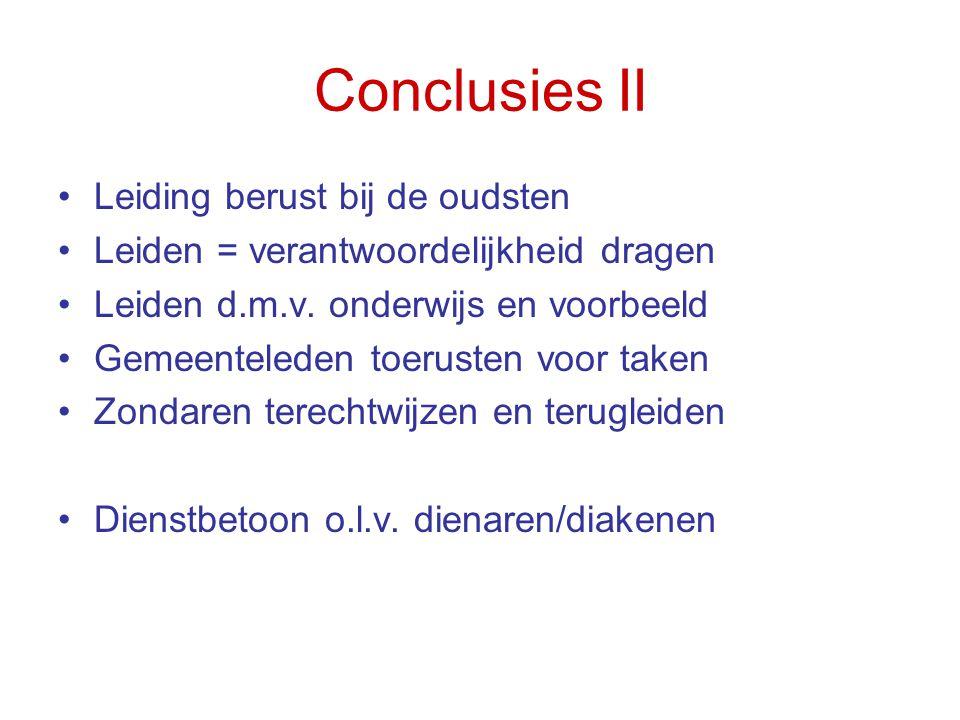 Conclusies II Leiding berust bij de oudsten