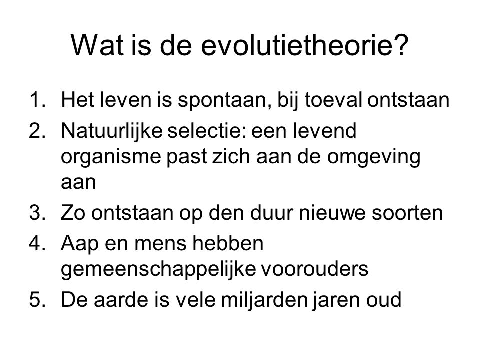 Wat is de evolutietheorie