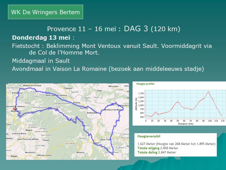 Provence 11 – 16 mei : DAG 3 (120 km)