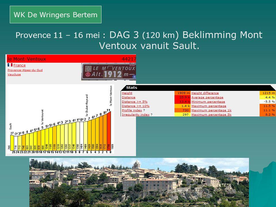 WK De Wringers Bertem Provence 11 – 16 mei : DAG 3 (120 km) Beklimming Mont Ventoux vanuit Sault.