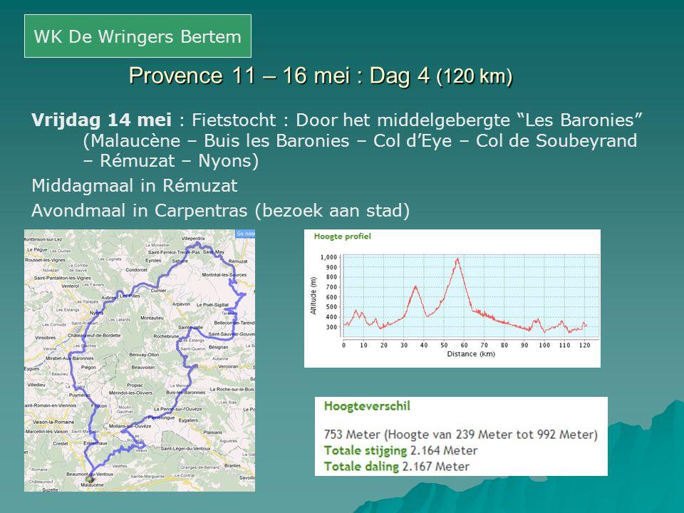 Provence 11 – 16 mei : Dag 4 (120 km)