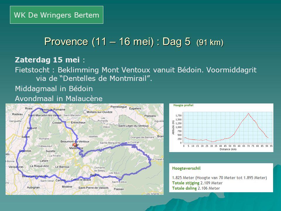 Provence (11 – 16 mei) : Dag 5 (91 km)