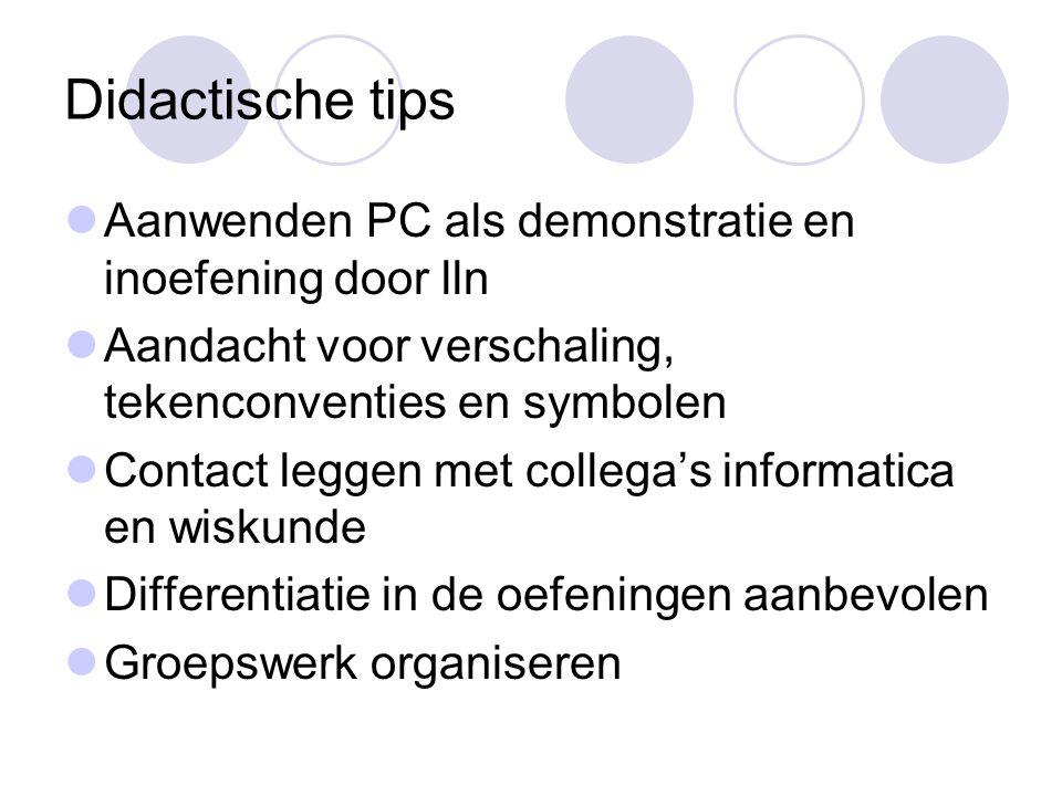 Didactische tips Aanwenden PC als demonstratie en inoefening door lln