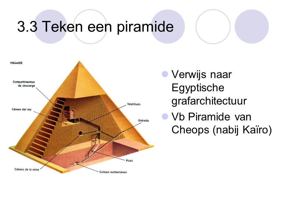 3.3 Teken een piramide Verwijs naar Egyptische grafarchitectuur